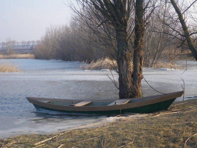 L'étang partiellement gelé